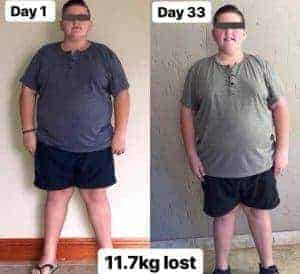young boy losing 11.7kg