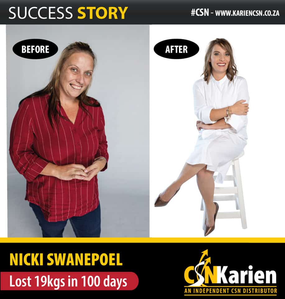nicky swanepeol lost 19kgs in 100 days