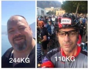 244kg to 110kg