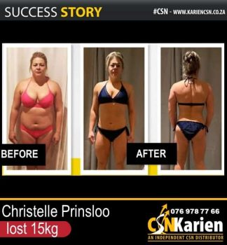 Christelle Prinsloo lost 15kg on the CSN program