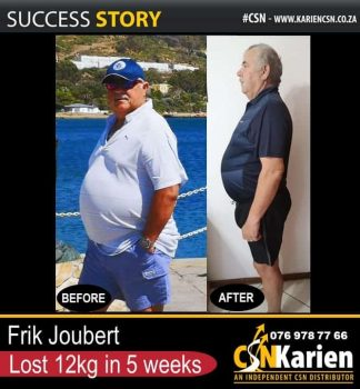 Frik Joubert lost 12kg in 5 weeks