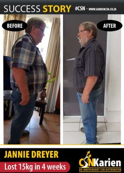 Hotel owner, Jannie Dreyer has a busy schedule and managed to loose 15kgs in 4 weeks with CSN