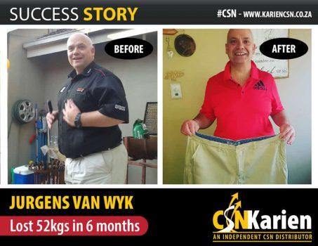 jurgens van wyk lost 52 kgs in 6 months